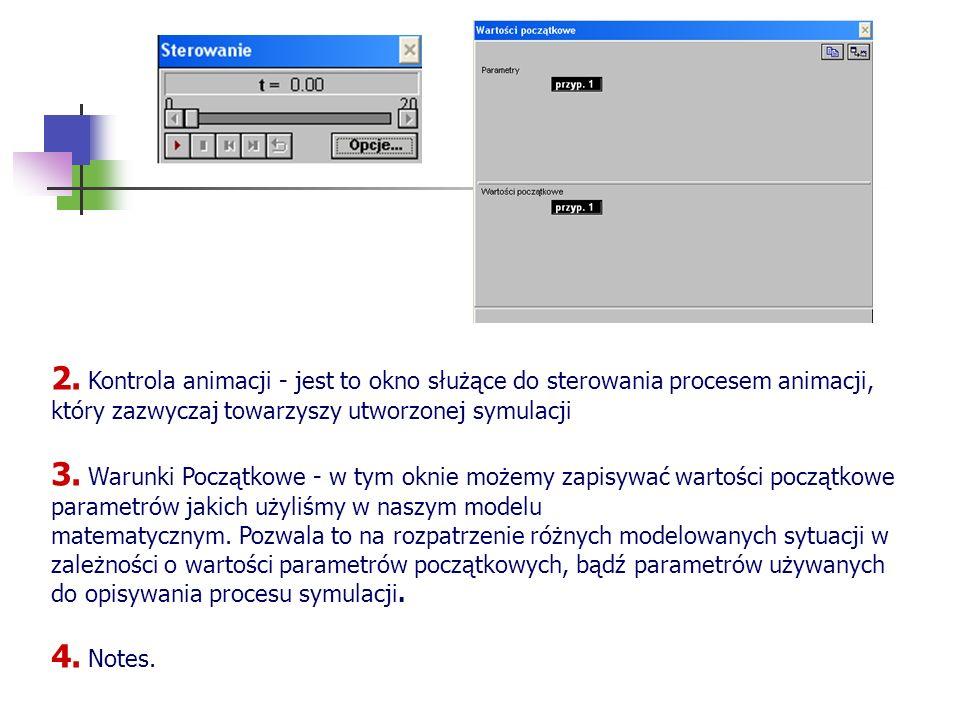 2. Kontrola animacji - jest to okno służące do sterowania procesem animacji, który zazwyczaj towarzyszy utworzonej symulacji 3. Warunki Początkowe - w