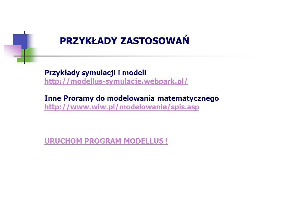 PRZYKŁADY ZASTOSOWAŃ Przykłady symulacji i modeli http://modellus-symulacje.webpark.pl/ Inne Proramy do modelowania matematycznego http://www.wiw.pl/m
