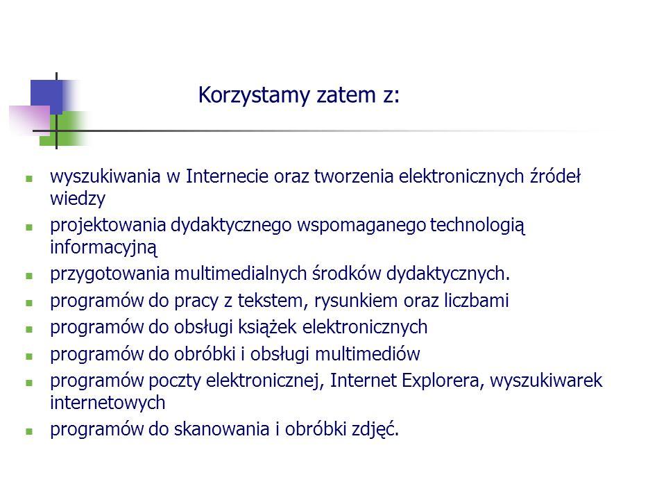 wyszukiwania w Internecie oraz tworzenia elektronicznych źródeł wiedzy projektowania dydaktycznego wspomaganego technologią informacyjną przygotowania