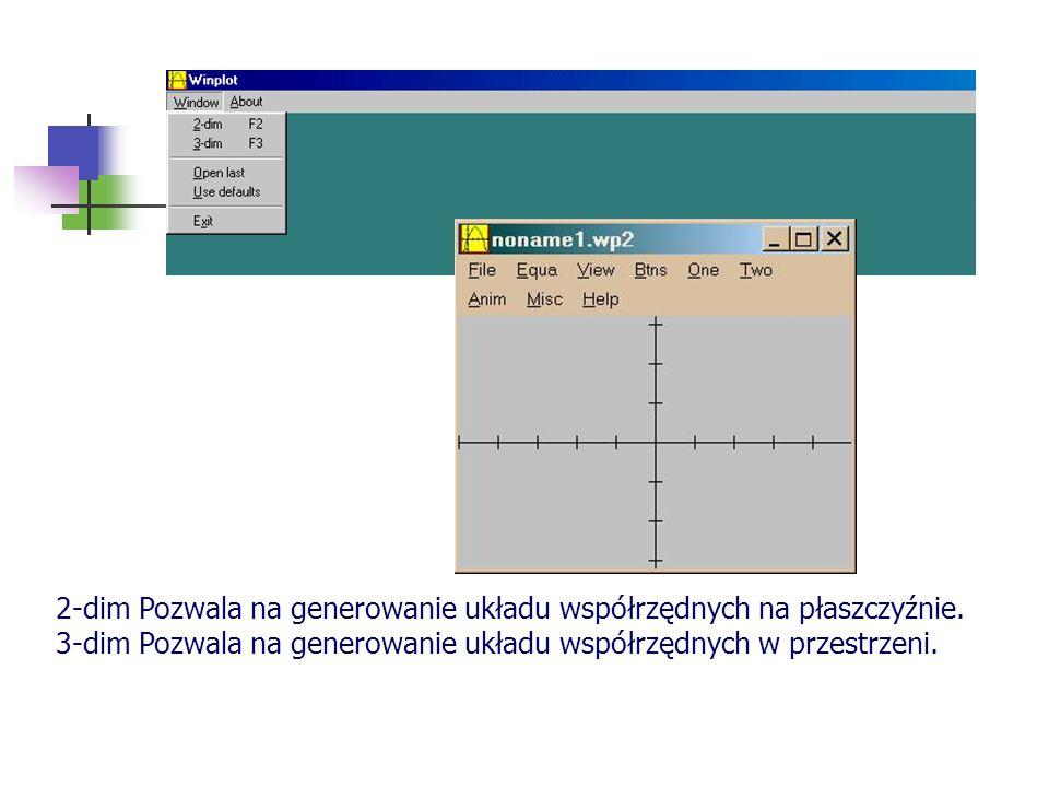 2-dim Pozwala na generowanie układu współrzędnych na płaszczyźnie. 3-dim Pozwala na generowanie układu współrzędnych w przestrzeni.
