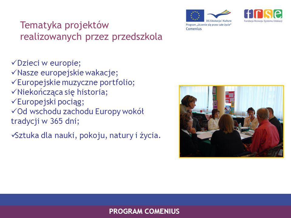 Tematyka projektów realizowanych przez przedszkola Dzieci w europie; Nasze europejskie wakacje; Europejskie muzyczne portfolio; Niekończąca się historia; Europejski pociąg; Od wschodu zachodu Europy wokół tradycji w 365 dni; Sztuka dla nauki, pokoju, natury i życia.