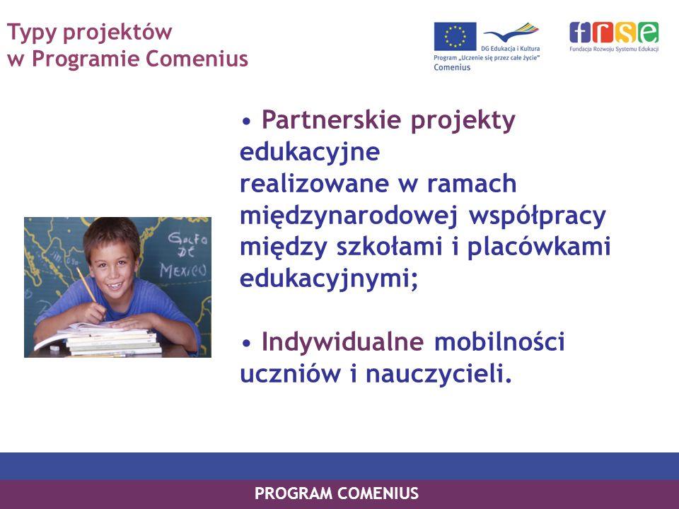 Typy projektów w Programie Comenius Partnerskie projekty edukacyjne realizowane w ramach międzynarodowej współpracy między szkołami i placówkami edukacyjnymi; Indywidualne mobilności uczniów i nauczycieli.