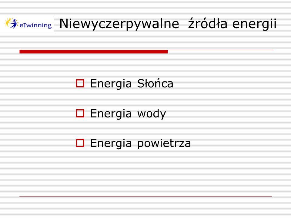 Niewyczerpywalne źródła energii Energia Słońca Energia wody Energia powietrza