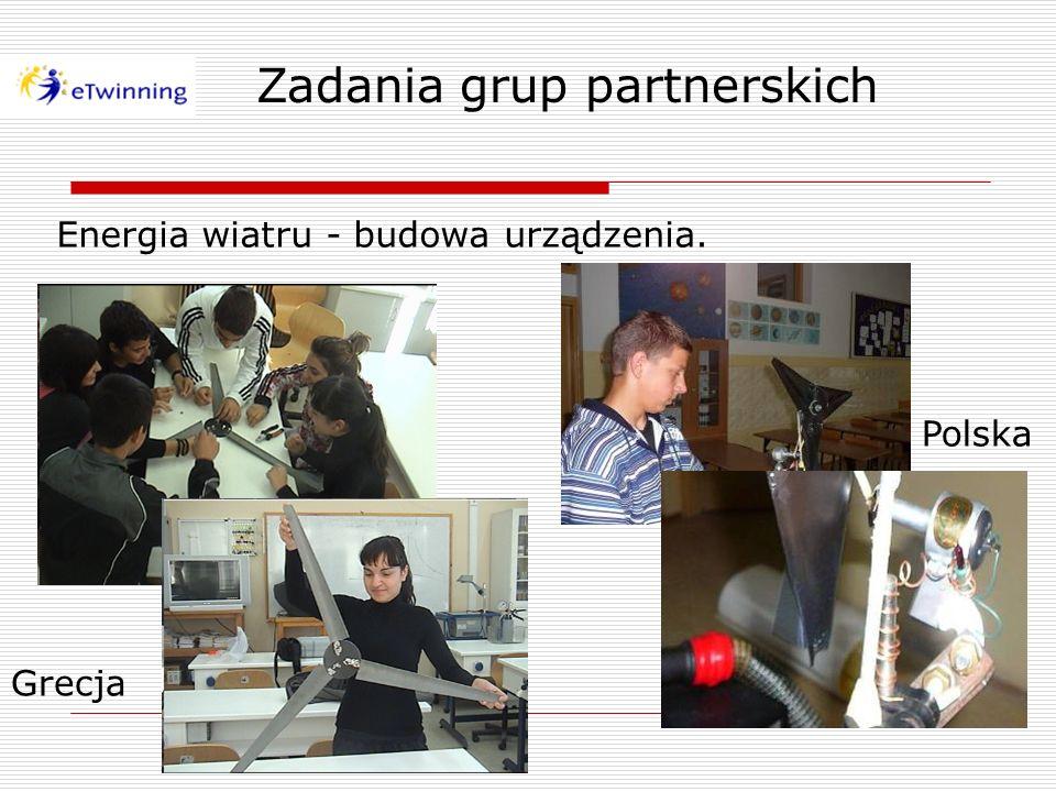 Energia wiatru - budowa urządzenia. Zadania grup partnerskich Grecja Polska