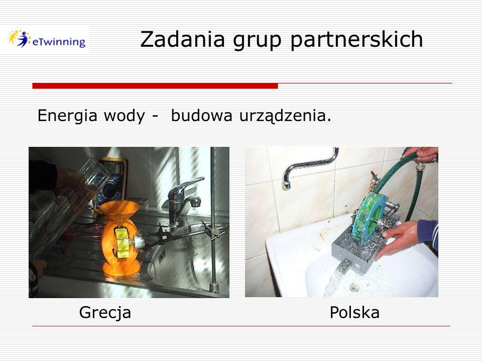 Energia wody - budowa urządzenia. Zadania grup partnerskich GrecjaPolska