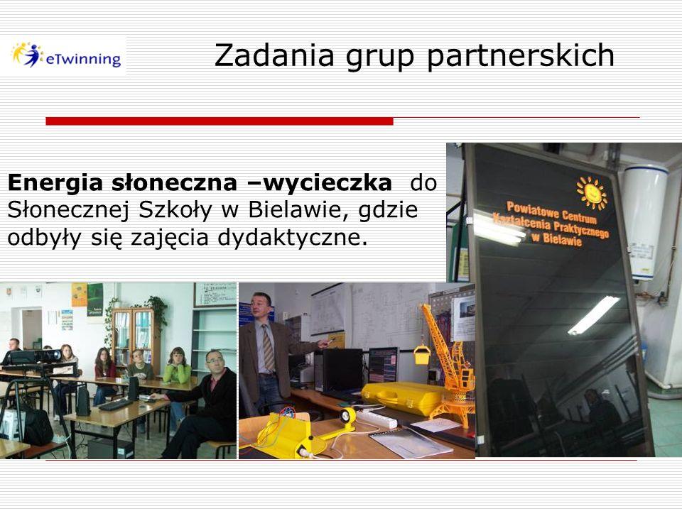 Zadania grup partnerskich Energia słoneczna –wycieczka do Słonecznej Szkoły w Bielawie, gdzie odbyły się zajęcia dydaktyczne.
