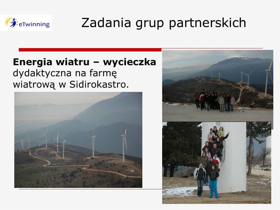 Zadania grup partnerskich Energia wiatru – wycieczka dydaktyczna na farmę wiatrową w Sidirokastro.