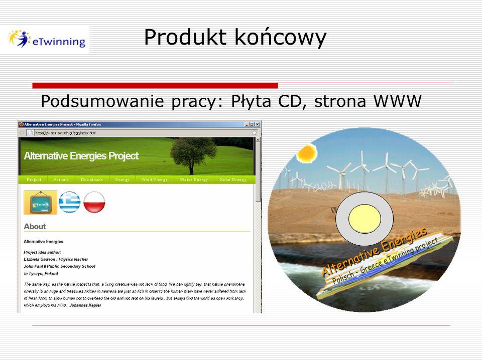 Produkt końcowy Podsumowanie pracy: Płyta CD, strona WWW