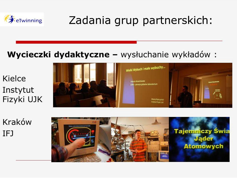 Wycieczki dydaktyczne – wysłuchanie wykładów : Kielce Instytut Fizyki UJK Kraków IFJ Zadania grup partnerskich: