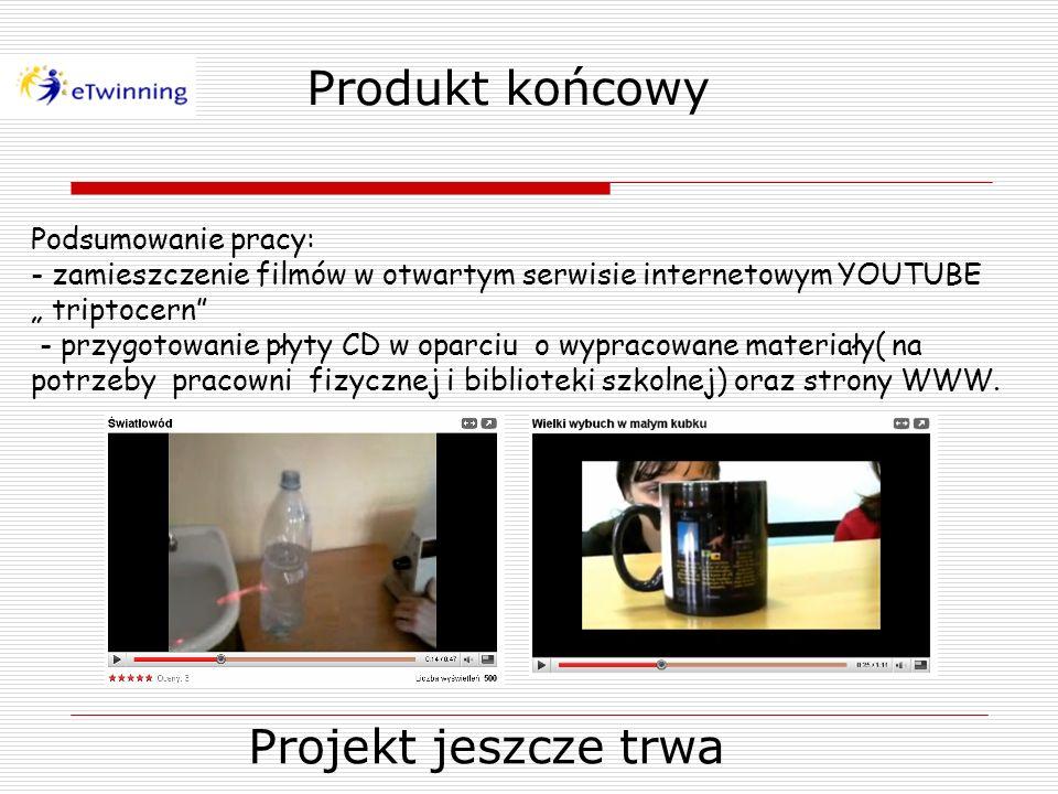 Produkt końcowy Podsumowanie pracy: - zamieszczenie filmów w otwartym serwisie internetowym YOUTUBE triptocern - przygotowanie płyty CD w oparciu o wy