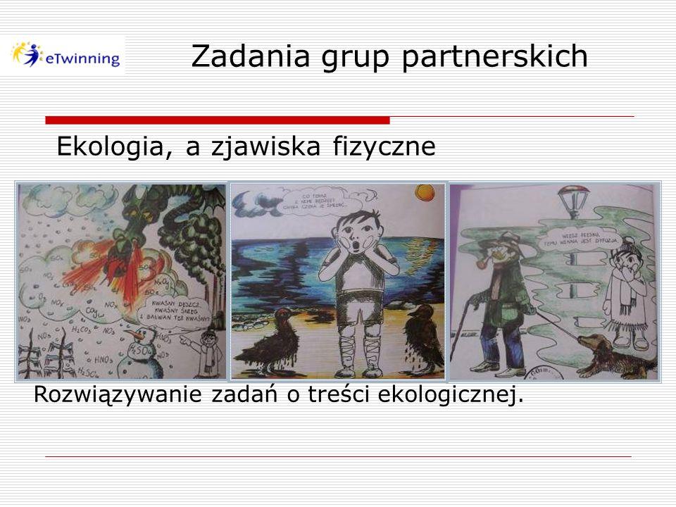 Zadania grup partnerskich Zbieranie za pomocą Internetu, selekcja i prezentacja informacji na temat projektu w formie zdjęć, filmów i prezentacji PowerPoint.