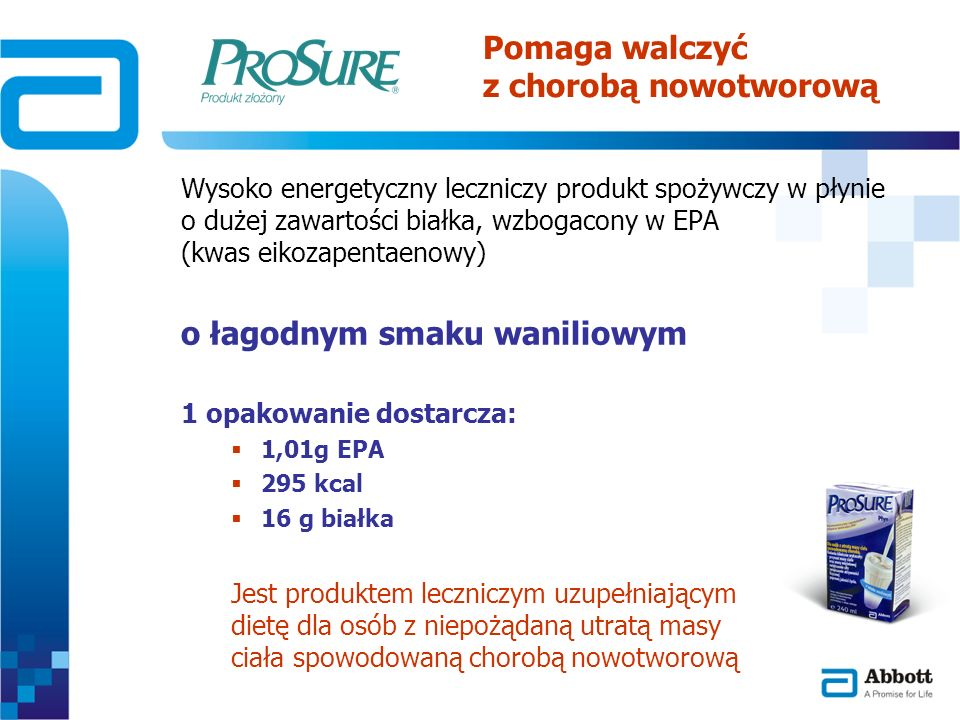 Wysoko energetyczny leczniczy produkt spożywczy w płynie o dużej zawartości białka, wzbogacony w EPA (kwas eikozapentaenowy) o łagodnym smaku waniliow