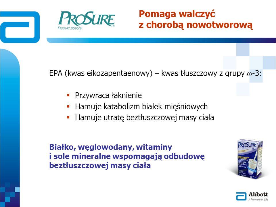 EPA (kwas eikozapentaenowy) – kwas tłuszczowy z grupy -3: Przywraca łaknienie Hamuje katabolizm białek mięśniowych Hamuje utratę beztłuszczowej masy c