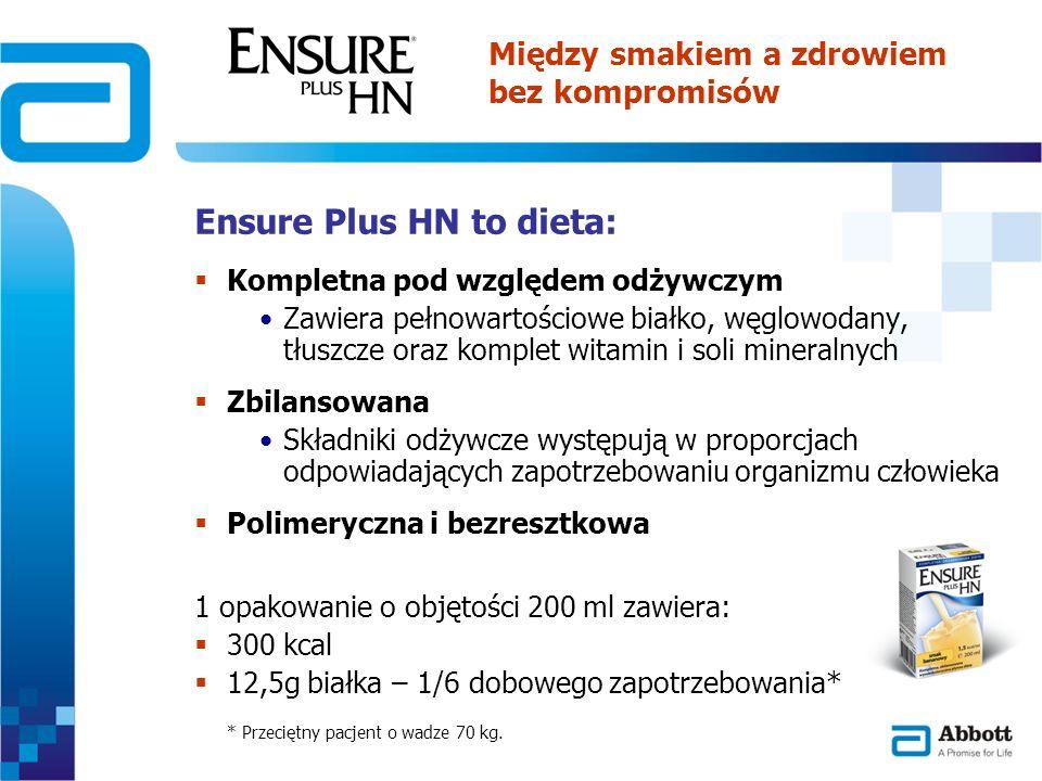 Ensure Plus HN to dieta: Kompletna pod względem odżywczym Zawiera pełnowartościowe białko, węglowodany, tłuszcze oraz komplet witamin i soli mineralny