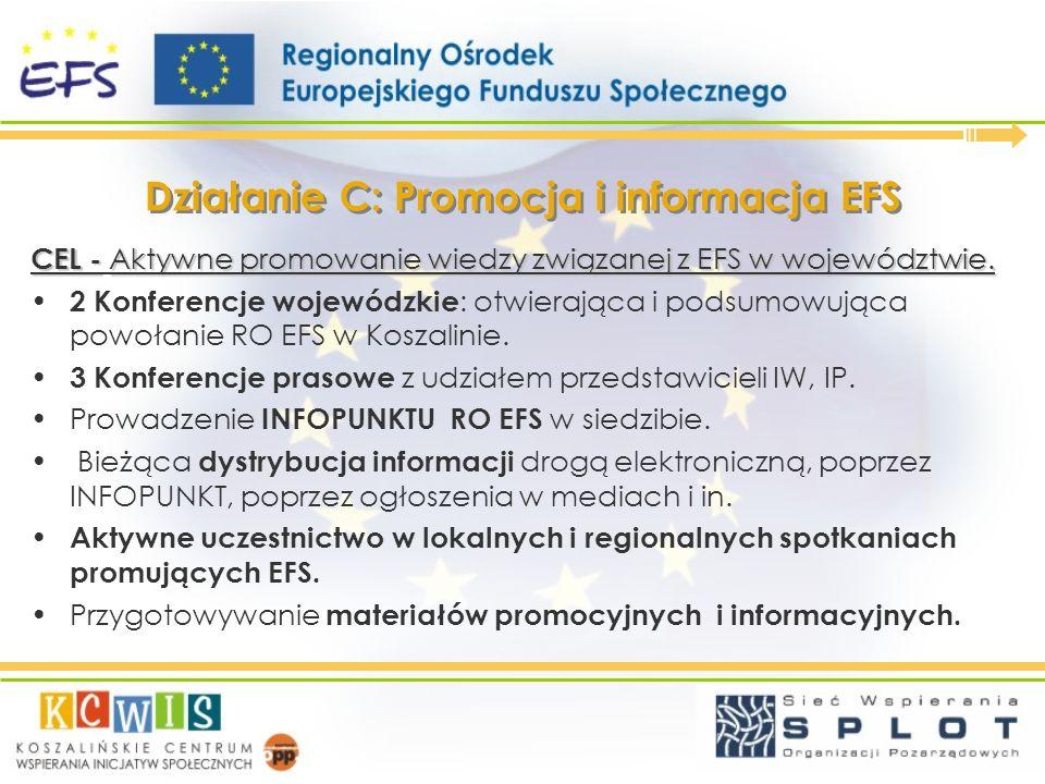 Działanie C: Promocja i informacja EFS CEL - Aktywne promowanie wiedzy związanej z EFS w województwie. 2 Konferencje wojewódzkie : otwierająca i podsu