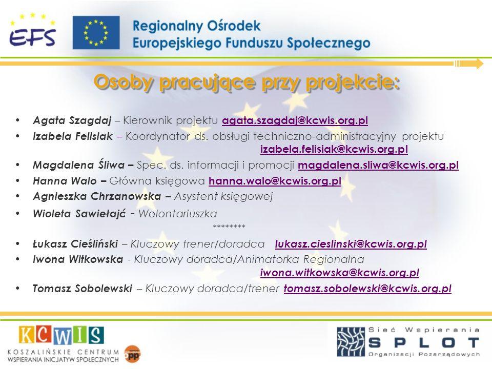 Osoby pracujące przy projekcie: Agata Szagdaj – Kierownik projektu agata.szagdaj@kcwis.org.pl Izabela Felisiak – Koordynator ds. obsługi techniczno-ad