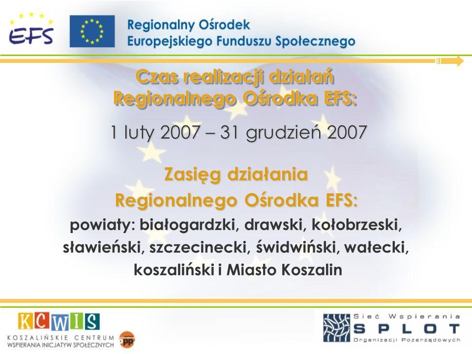 Czas realizacji działań Regionalnego Ośrodka EFS: 1 luty 2007 – 31 grudzień 2007 1 luty 2007 – 31 grudzień 2007 Zasięg działania Regionalnego Ośrodka