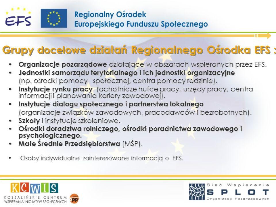 Grupy docelowe działań Regionalnego Ośrodka EFS : Organizacje pozarządowe działające w obszarach wspieranych przez EFS. Organizacje pozarządowe działa
