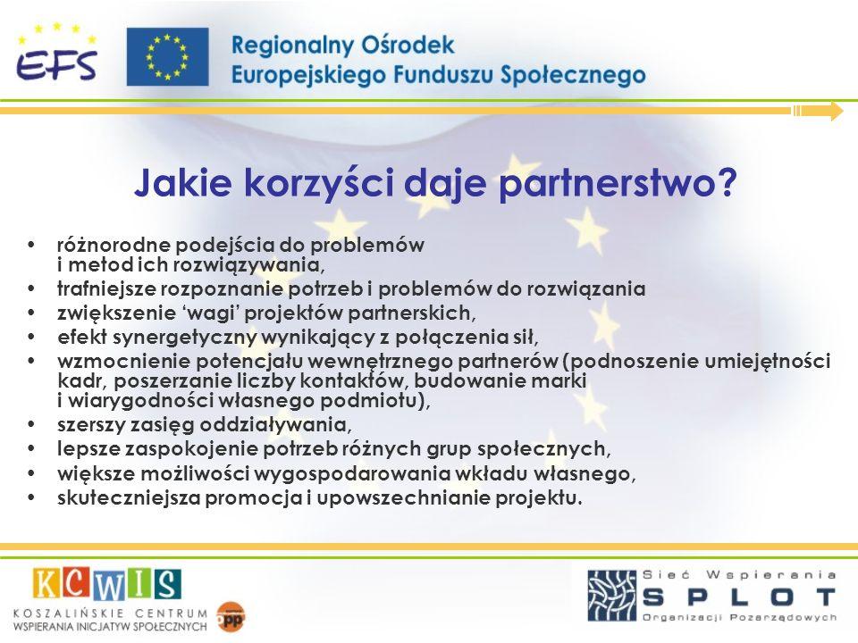 Jakie korzyści daje partnerstwo? różnorodne podejścia do problemów i metod ich rozwiązywania, trafniejsze rozpoznanie potrzeb i problemów do rozwiązan