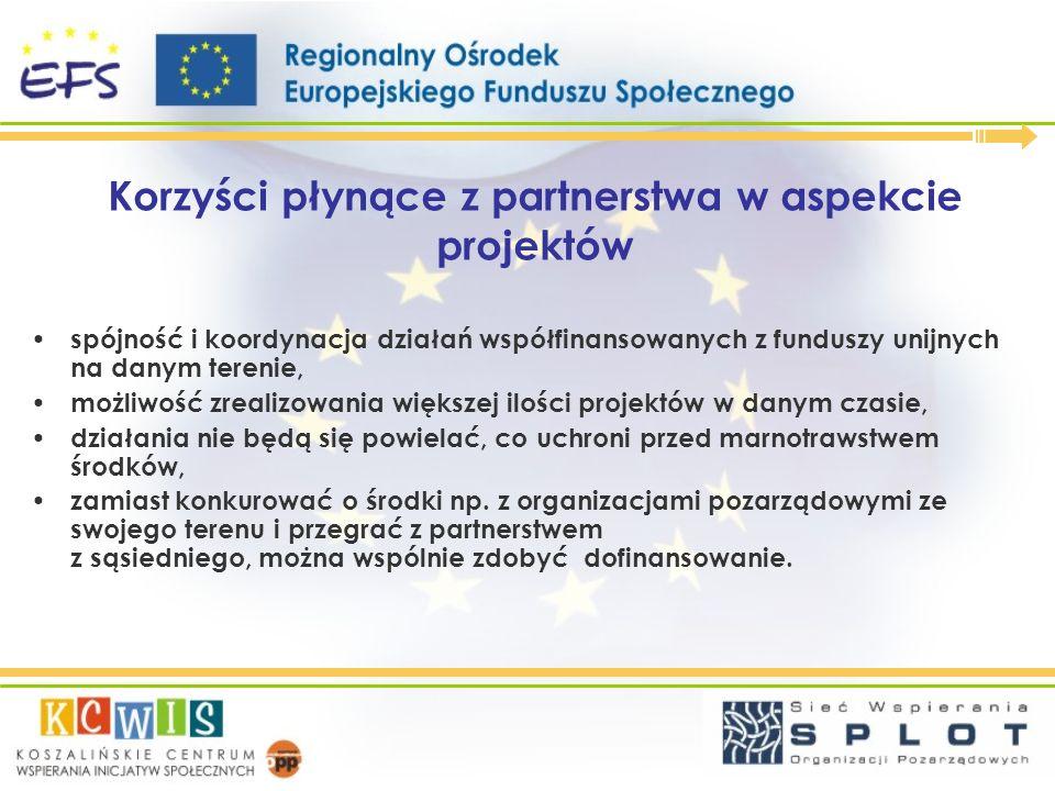 Korzyści płynące z partnerstwa w aspekcie projektów spójność i koordynacja działań współfinansowanych z funduszy unijnych na danym terenie, możliwość
