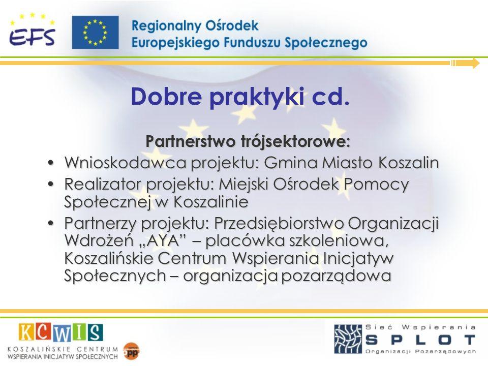 Dobre praktyki cd. Partnerstwo trójsektorowe: Wnioskodawca projektu: Gmina Miasto KoszalinWnioskodawca projektu: Gmina Miasto Koszalin Realizator proj