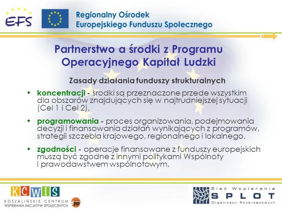Partnerstwo a środki z Programu Operacyjnego Kapitał Ludzki Zasady działania funduszy strukturalnych koncentracji - środki są przeznaczone przede wszy