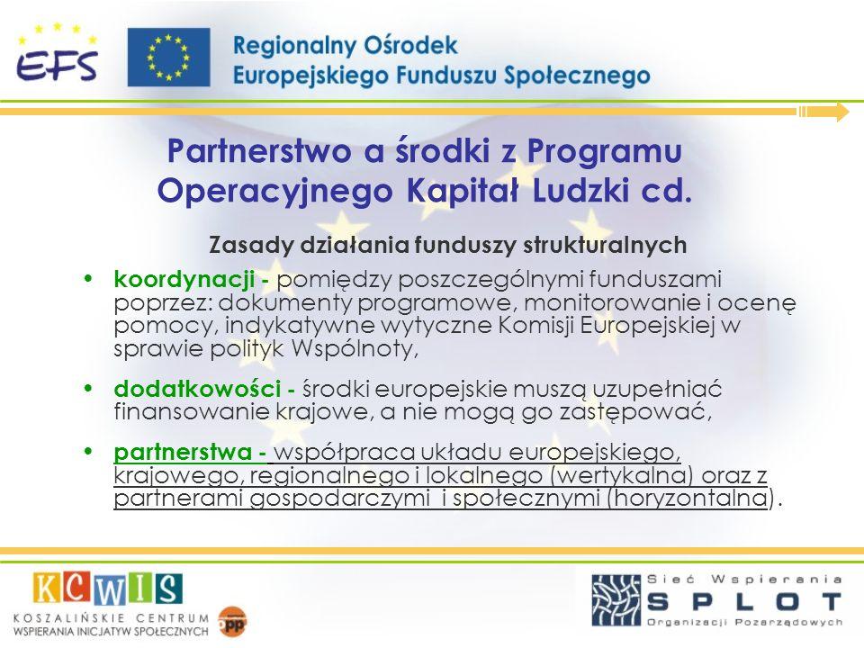 Partnerstwo a środki z Programu Operacyjnego Kapitał Ludzki cd. Zasady działania funduszy strukturalnych koordynacji - pomiędzy poszczególnymi fundusz