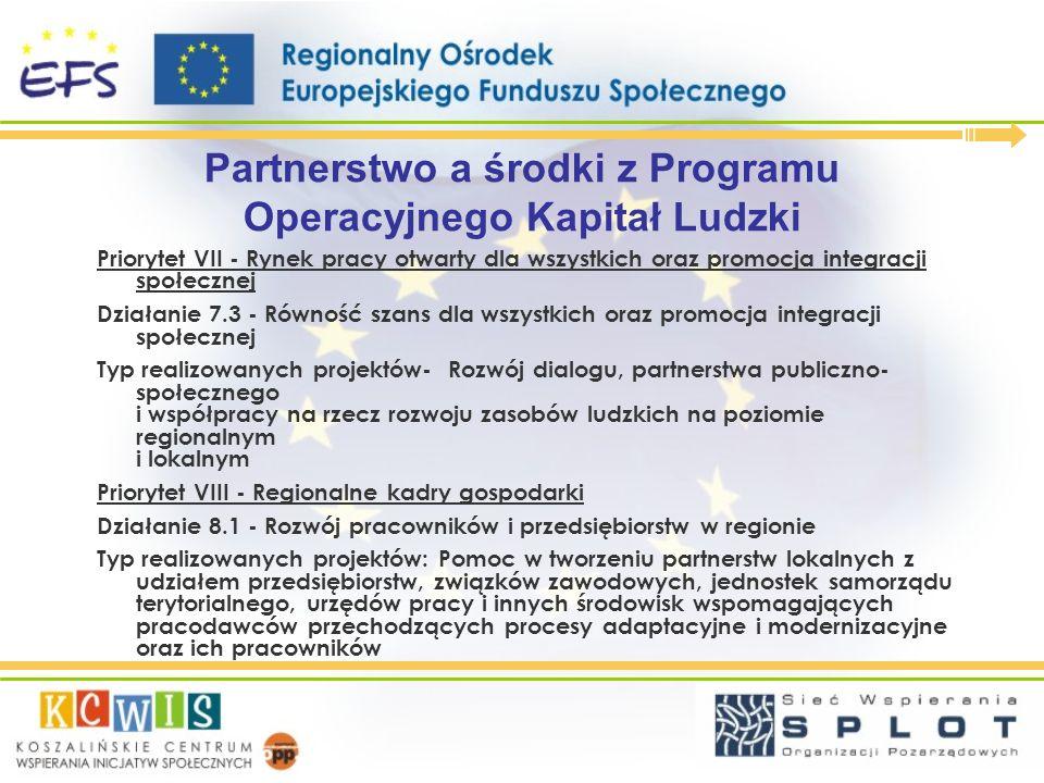 Partnerstwo a środki z Programu Operacyjnego Kapitał Ludzki Priorytet VII - Rynek pracy otwarty dla wszystkich oraz promocja integracji społecznej Dzi