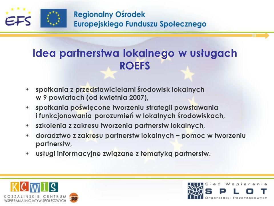 Idea partnerstwa lokalnego w usługach ROEFS spotkania z przedstawicielami środowisk lokalnych w 9 powiatach (od kwietnia 2007), spotkania poświęcone t