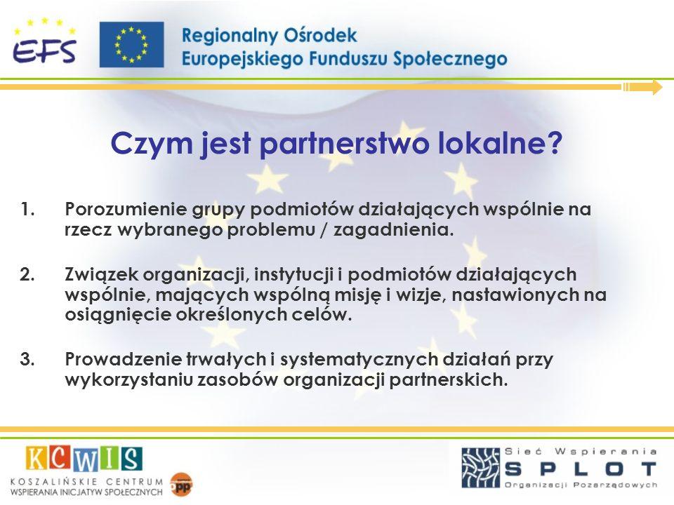 Czym jest partnerstwo lokalne? 1.Porozumienie grupy podmiotów działających wspólnie na rzecz wybranego problemu / zagadnienia. 2.Związek organizacji,