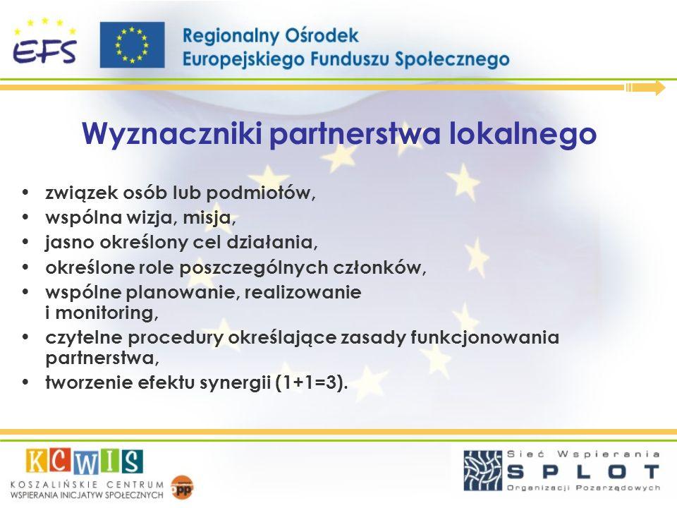 Wyznaczniki partnerstwa lokalnego związek osób lub podmiotów, wspólna wizja, misja, jasno określony cel działania, określone role poszczególnych człon