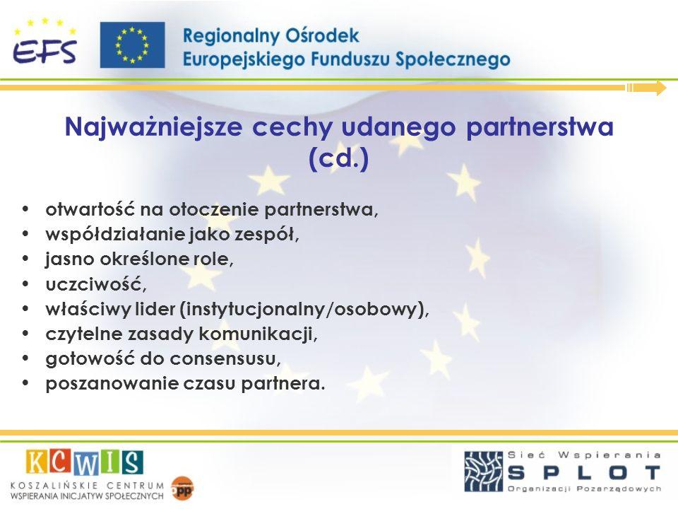 Najważniejsze cechy udanego partnerstwa (cd.) otwartość na otoczenie partnerstwa, współdziałanie jako zespół, jasno określone role, uczciwość, właściw