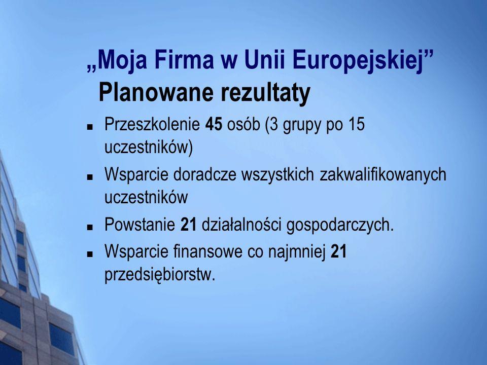 Moja Firma w Unii Europejskiej Planowane rezultaty Przeszkolenie 45 osób (3 grupy po 15 uczestników) Wsparcie doradcze wszystkich zakwalifikowanych uc
