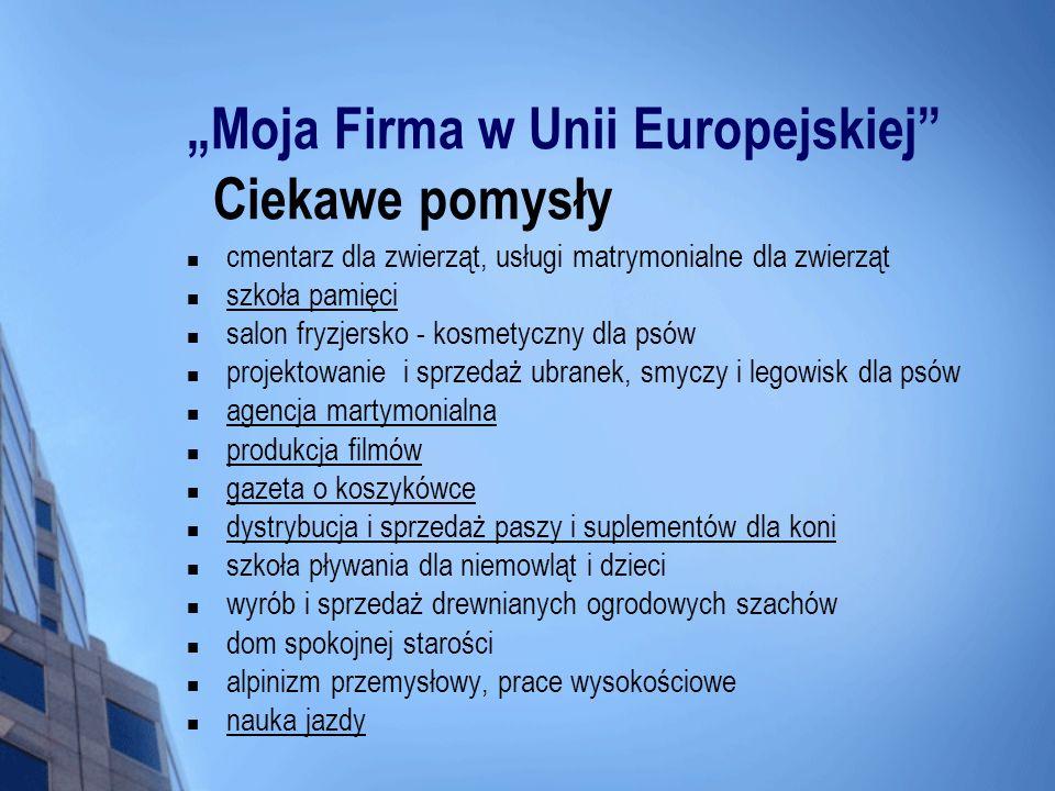 Moja Firma w Unii Europejskiej Ciekawe pomysły cmentarz dla zwierząt, usługi matrymonialne dla zwierząt szkoła pamięci salon fryzjersko - kosmetyczny