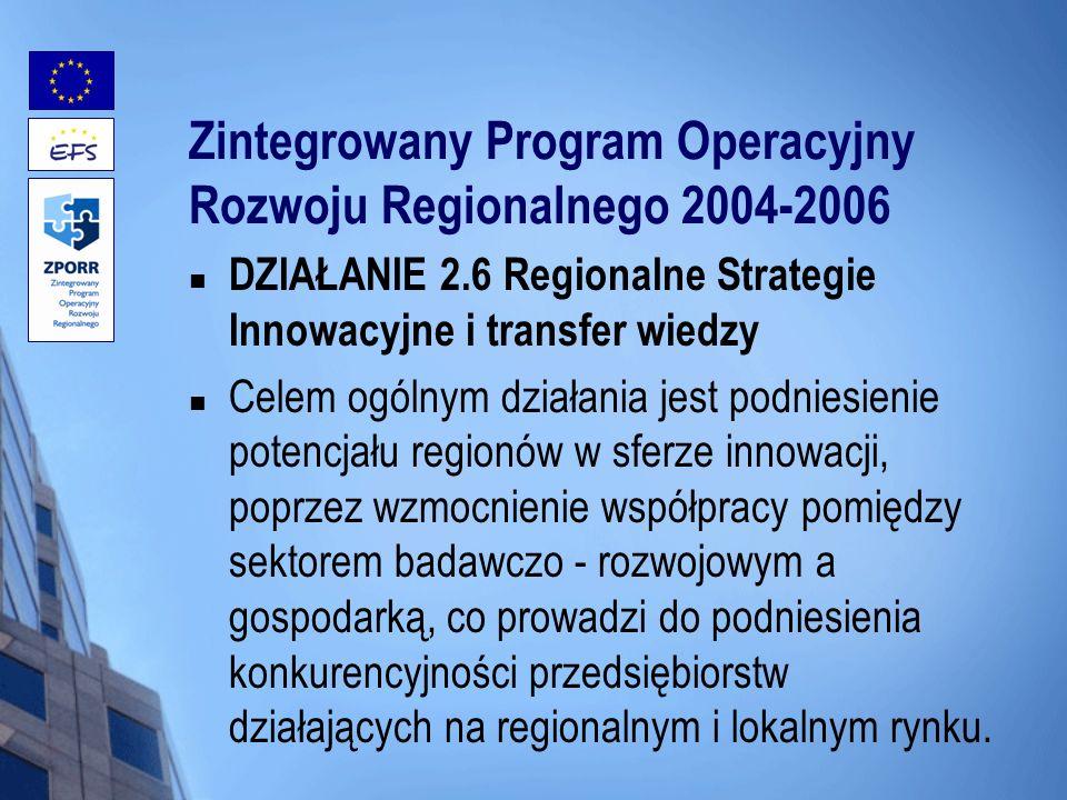 Zintegrowany Program Operacyjny Rozwoju Regionalnego 2004-2006 DZIAŁANIE 2.6 Regionalne Strategie Innowacyjne i transfer wiedzy Celem ogólnym działani