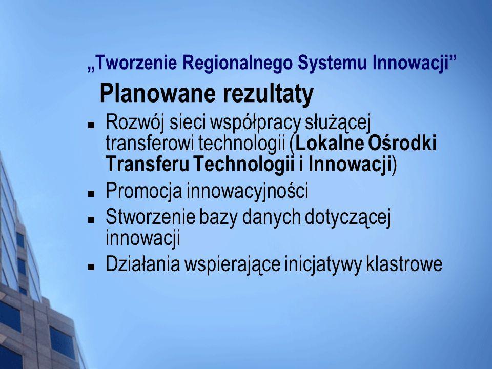 Tworzenie Regionalnego Systemu Innowacji Planowane rezultaty Rozwój sieci współpracy służącej transferowi technologii ( Lokalne Ośrodki Transferu Tech