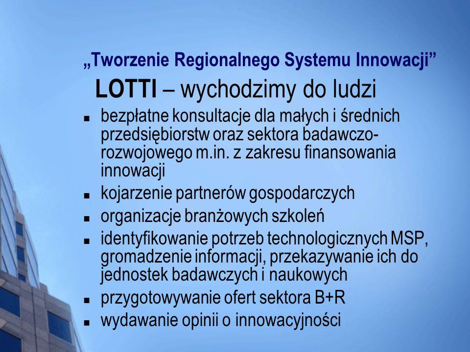 Tworzenie Regionalnego Systemu Innowacji LOTTI – wychodzimy do ludzi bezpłatne konsultacje dla małych i średnich przedsiębiorstw oraz sektora badawczo