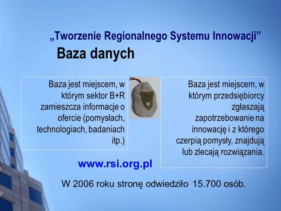 Tworzenie Regionalnego Systemu Innowacji Baza danych Baza jest miejscem, w którym sektor B+R zamieszcza informacje o ofercie (pomysłach, technologiach