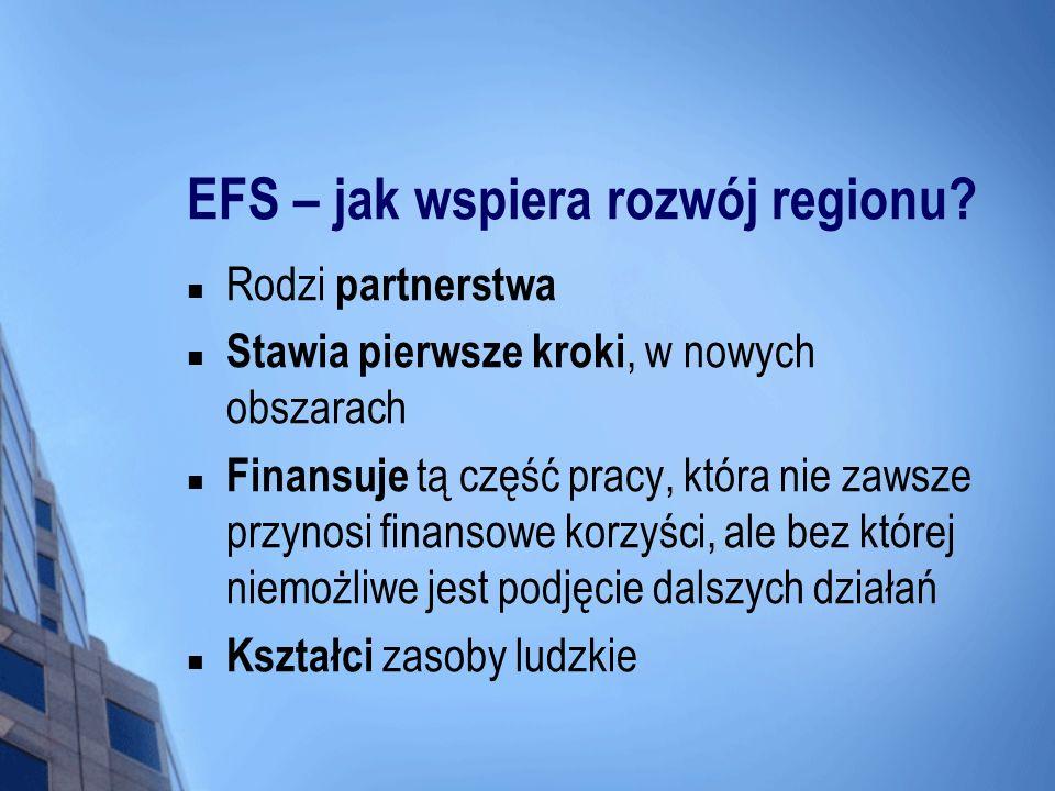 EFS – jak wspiera rozwój regionu? Rodzi partnerstwa Stawia pierwsze kroki, w nowych obszarach Finansuje tą część pracy, która nie zawsze przynosi fina
