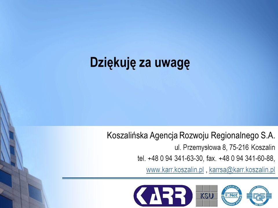 Dziękuję za uwagę Koszalińska Agencja Rozwoju Regionalnego S.A. ul. Przemysłowa 8, 75-216 Koszalin tel. +48 0 94 341-63-30, fax. +48 0 94 341-60-88, w
