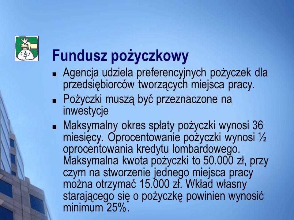 Fundusz pożyczkowy Agencja udziela preferencyjnych pożyczek dla przedsiębiorców tworzących miejsca pracy. Pożyczki muszą być przeznaczone na inwestycj