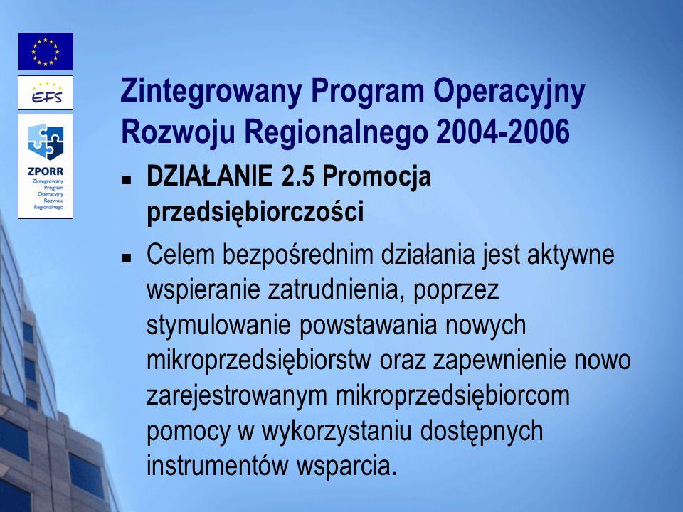 Zintegrowany Program Operacyjny Rozwoju Regionalnego 2004-2006 DZIAŁANIE 2.5 Promocja przedsiębiorczości Celem bezpośrednim działania jest aktywne wsp