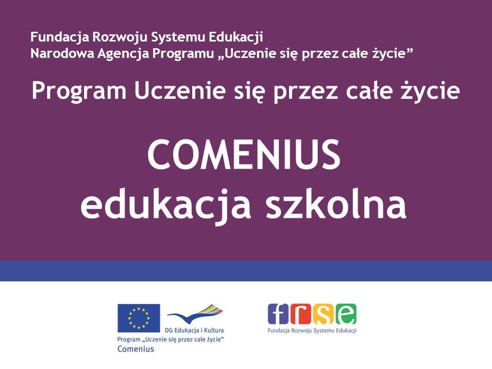 Struktura programu PROGRAM COMENIUS Comenius Edukacja szkolna Erasmus Szkoły wyższe Leonardo da Vinci Kształcenie i doskonalenie zawodowe Grundtvig Edukacja dorosłych Program międzysektorowy 4 rodzaje aktywności – rozwój polityki edukacyjnej; kształcenie językowe; rozwój nowoczesnych technologii informacyjnych; rozpowszechnianie przykładów dobrej praktyki Program Jean Monnet 3 rodzaje aktywności – Akcja Jean Monnet; europejskie instytucje; stowarzyszenia europejskie