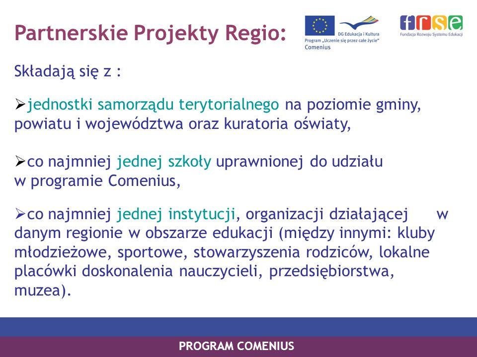 Partnerskie Projekty Regio: Składają się z : jednostki samorządu terytorialnego na poziomie gminy, powiatu i województwa oraz kuratoria oświaty, co na