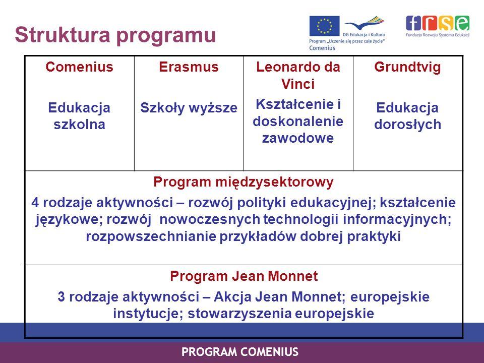 Struktura programu PROGRAM COMENIUS Comenius Edukacja szkolna Erasmus Szkoły wyższe Leonardo da Vinci Kształcenie i doskonalenie zawodowe Grundtvig Ed