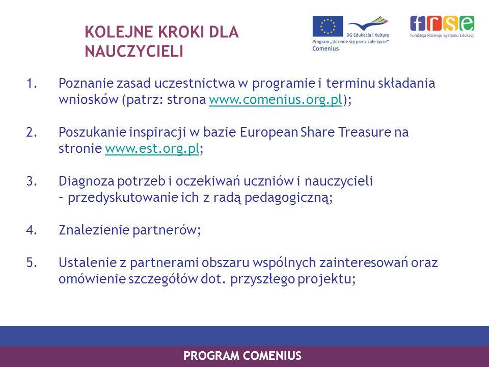 KOLEJNE KROKI DLA NAUCZYCIELI 1.Poznanie zasad uczestnictwa w programie i terminu składania wniosków (patrz: strona www.comenius.org.pl);www.comenius.