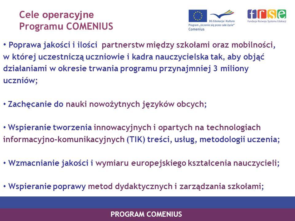 Cele operacyjne Program u COMENIUS Poprawa jakości i ilości partnerstw między szkołami oraz mobilności, w której uczestniczą uczniowie i kadra nauczyc