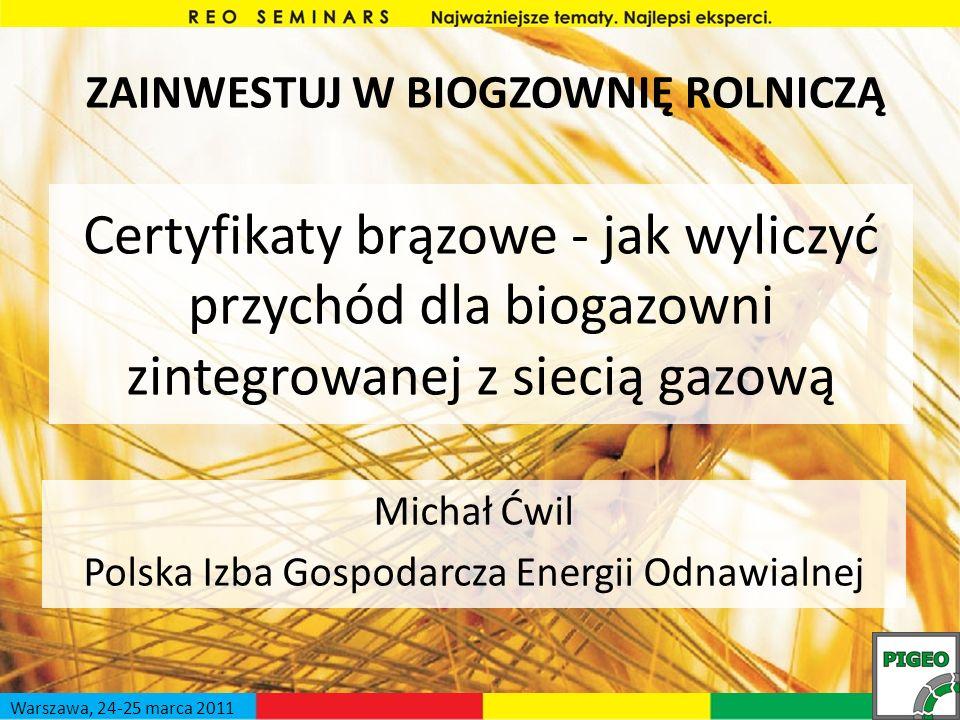 Certyfikaty brązowe - jak wyliczyć przychód dla biogazowni zintegrowanej z siecią gazową Michał Ćwil Polska Izba Gospodarcza Energii Odnawialnej ZAINW