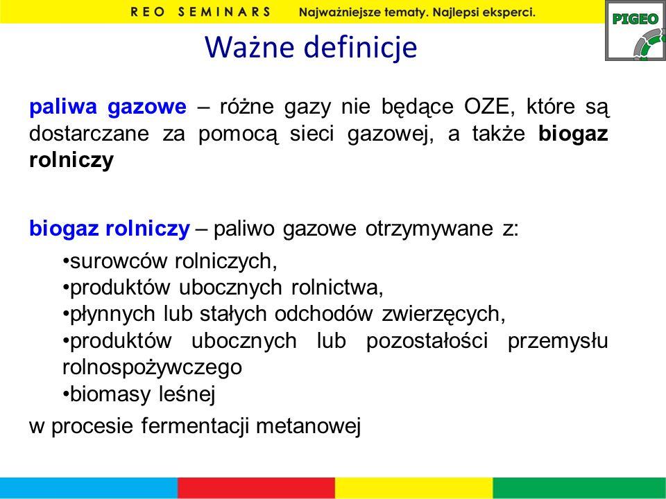 Ważne definicje paliwa gazowe – różne gazy nie będące OZE, które są dostarczane za pomocą sieci gazowej, a także biogaz rolniczy biogaz rolniczy – pal