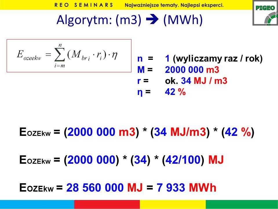 Algorytm: (m3) (MWh) n = 1 (wyliczamy raz / rok) M = 2000 000 m3 r = ok. 34 MJ / m3 η = 42 % E OZEkw = (2000 000 m3) * (34 MJ/m3) * (42 %) E OZEkw = (